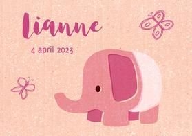 Geboortekaartjes - Vintage olifantje roze