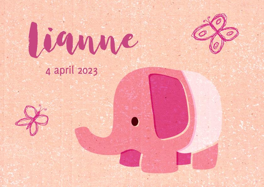 Vintage olifantje roze 2