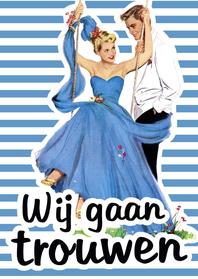 Trouwkaarten - Vintage Trouwen Schommel