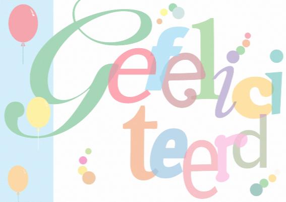 Vlotte kleurige grafische Felicitatie van losse letters 3