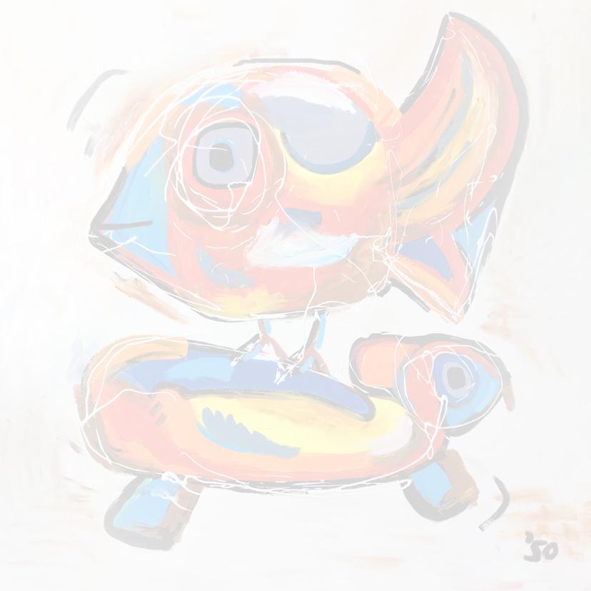 Vogel en de schildpad, cobra stijl kunstkaart 2