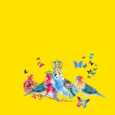 Vogels met kroon en bloemen 2