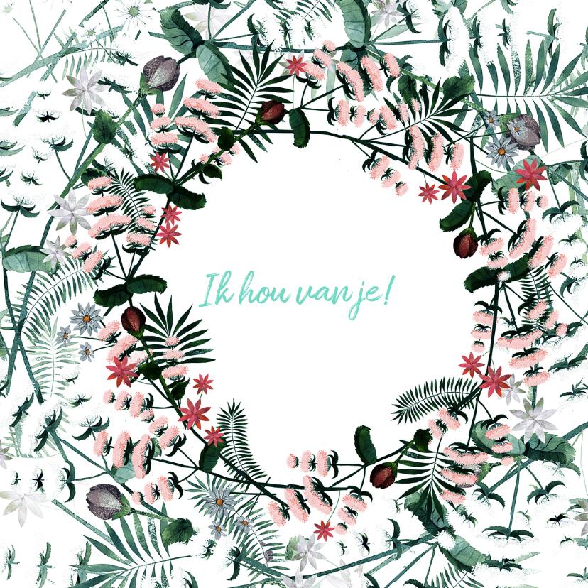 Voor jou - kaart in bloemenkrans 3