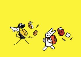Vriendschap kaarten - Vriendschap Joep Hop naar school