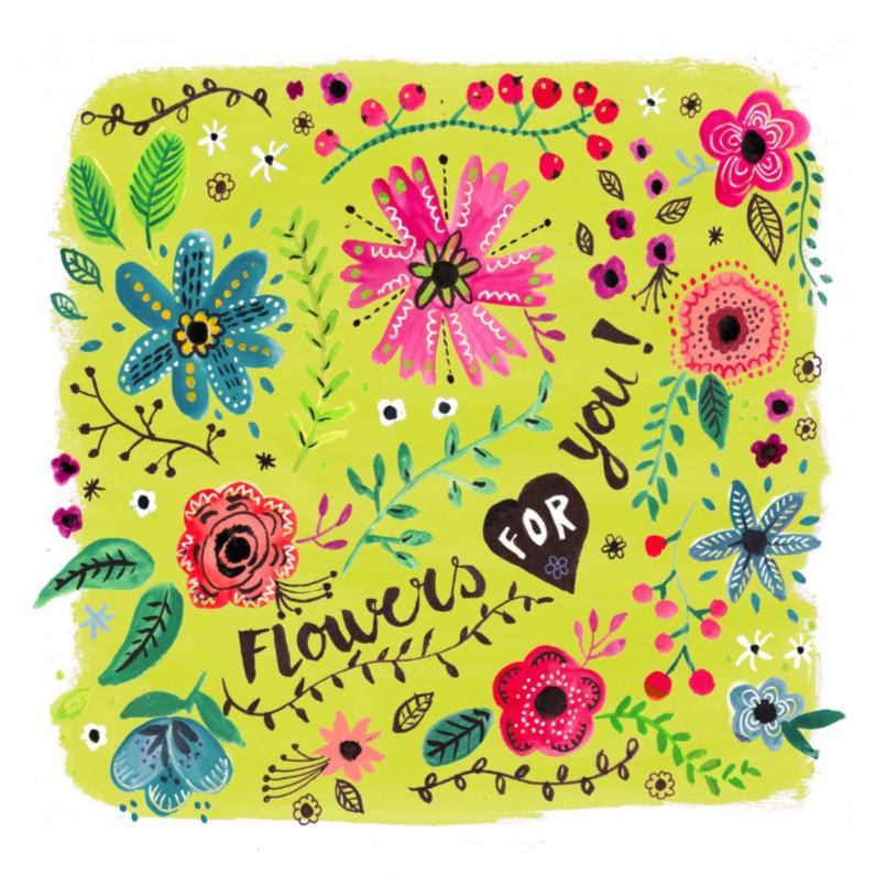 Zeer Vrolijke bloemen voor jou - Beterschapskaarten - Kaartje2go GH-54