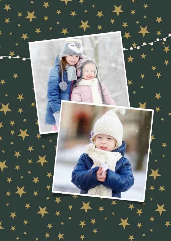 Vrolijke en hippe kerstkaart met eigen foto en sneeuw rand 2