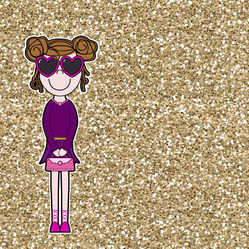 Vrolijke meiden glitter felicitatie 2