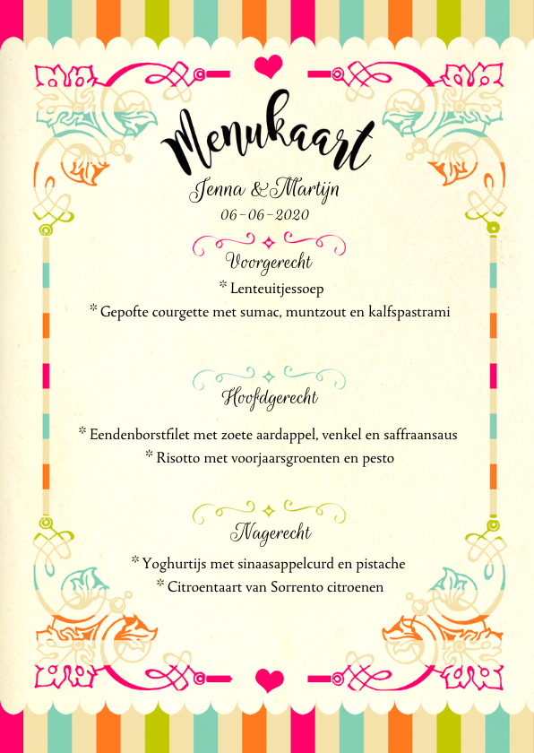 Vrolijke menukaart trouwfeest 3