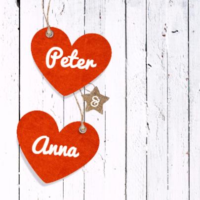 Vrolijke trouwkaart met hartjes 2