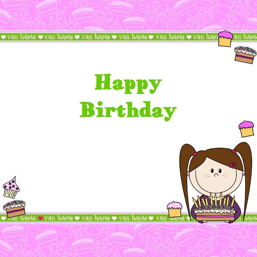 vrolijke verjaardagskaart MEISJE TAART 3