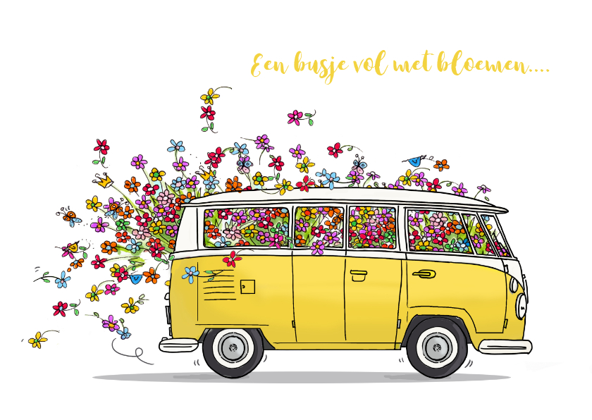 Vw Bus Geel Met Bloemen Verjaardagskaarten Kaartje2go