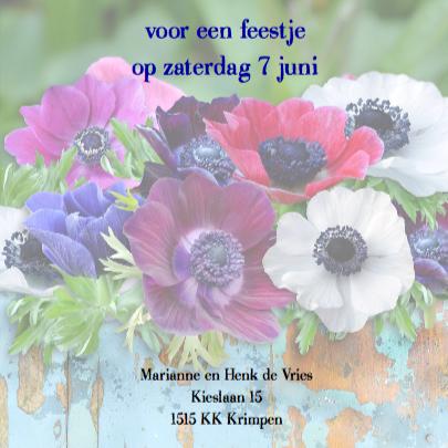 Warme uitnodiging voor feest met kleurige anemonen 3