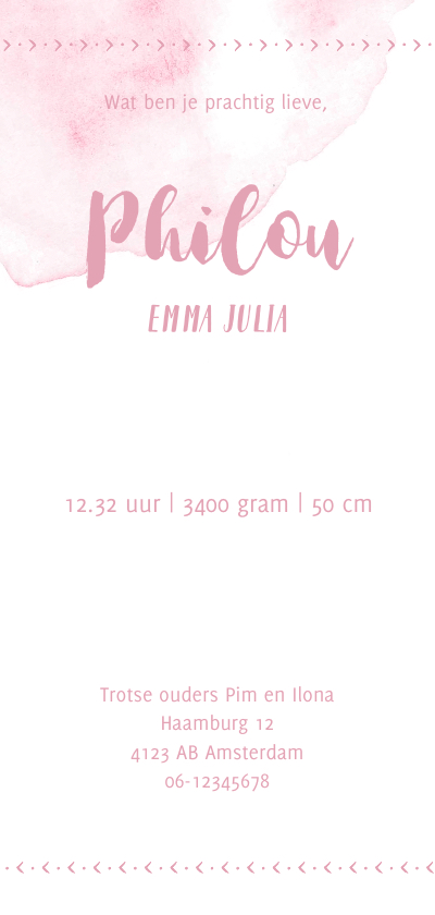 Watercolor geboortekaartje in het roze achterkant