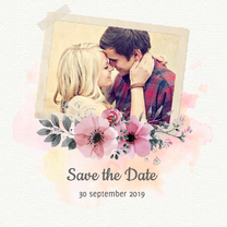 Trouwkaarten - watercolor save the date trouwkaart