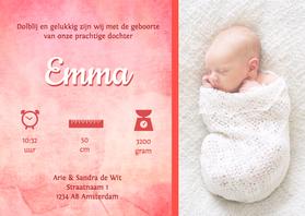 Geboortekaartjes - Waterverf grote foto Emma - DH