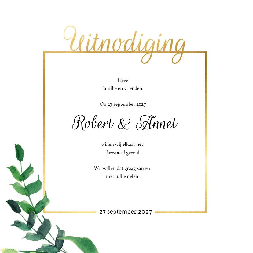 Wedding Trouwkaart Stijlvol wit met goud 2