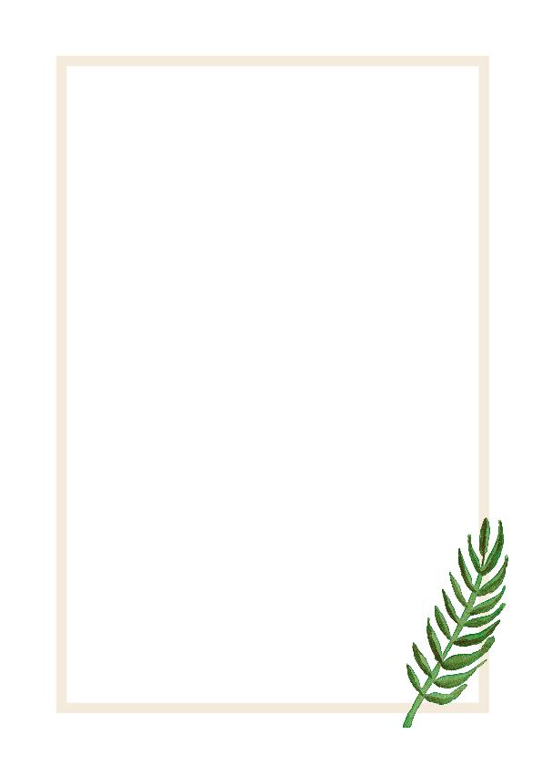 Woonkaart botanisch met blad en de tekst life is beautiful 3