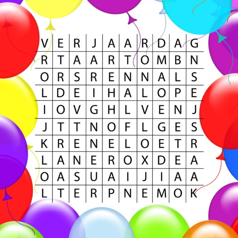 Woordzoeker Verjaardagsfeest Verjaardagskaarten Kaartje2go