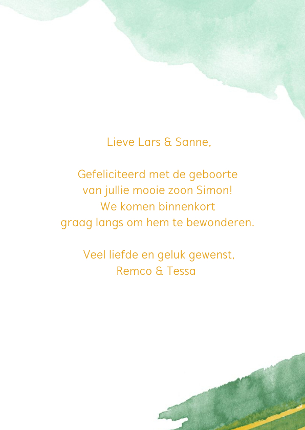 You are loved felicitatiekaart geboorte jongen waterverf 3