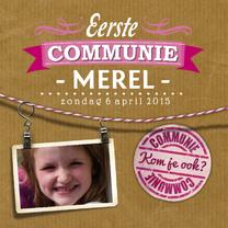 Communiekaarten - YVON communie letterpress girl