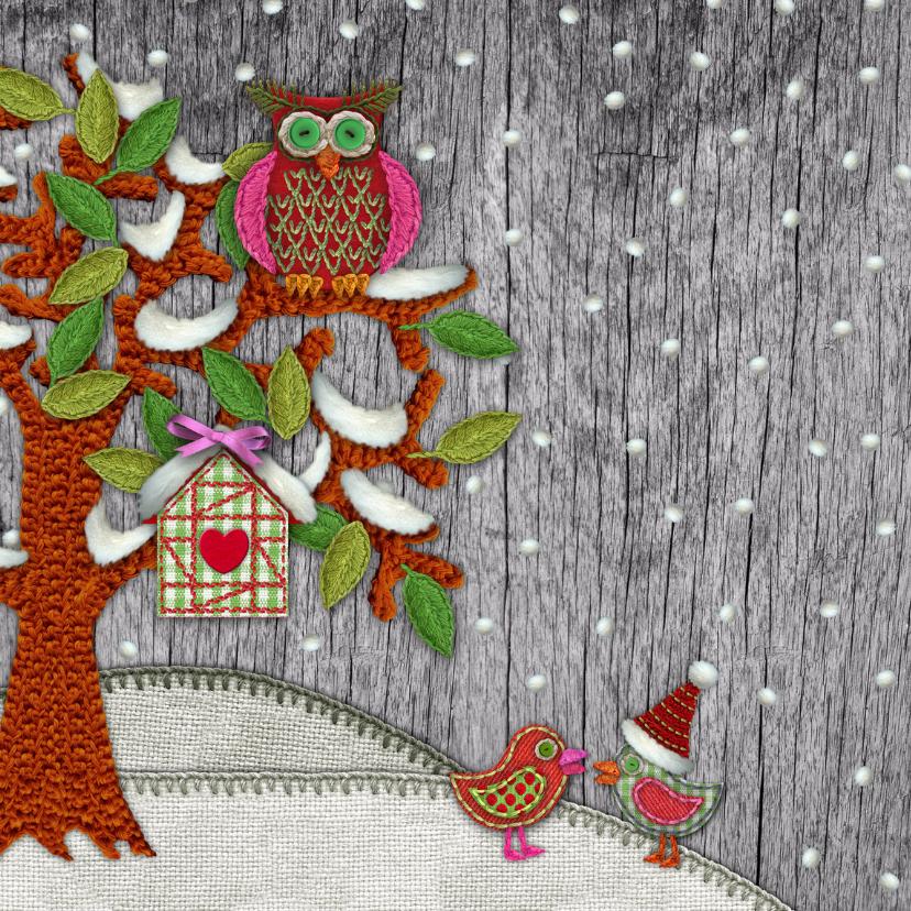 YVON hippe kerstkaart boom uil sneeuw vk 2