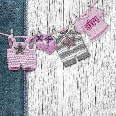 YVON meisje geboortekaart waslijn roze 2