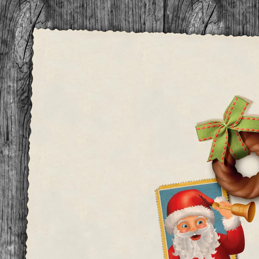 YVON post kerstman hout zegel vk vintage 3