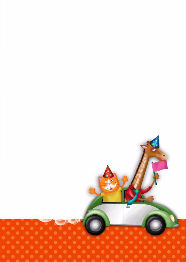 YVON straat giraf auto verjaardagskaart 3