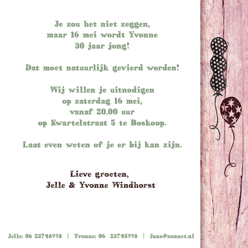 YVON uitnodiging stempel roze  3