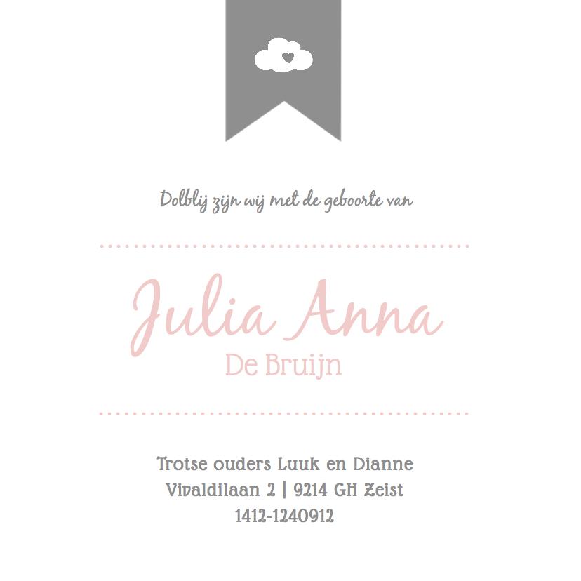 Zachtroze geboortekaartje met label 3