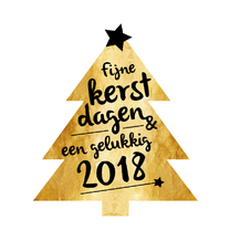 Zakelijke kerstkaart gouden kerstboom 2018