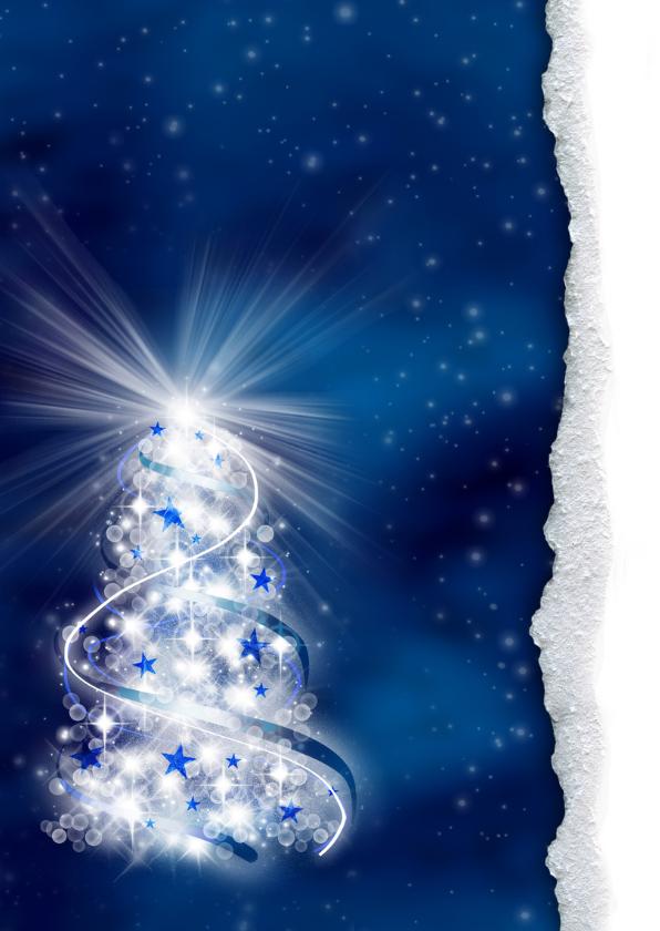 zakelijke kerstkaart kerstboom blauw st 2