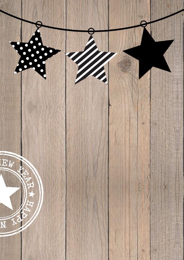 Zakelijke kerstkaart typografie houtprint modern 2
