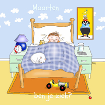 Beterschapskaarten - Ziek jongetje in bed