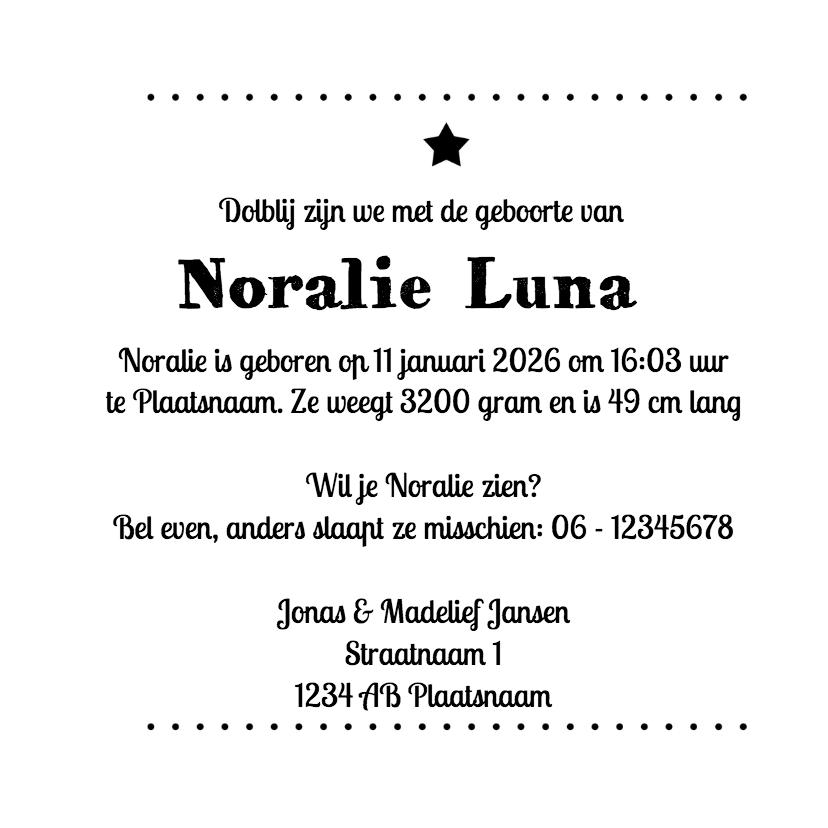 Zwart wit geboorte Noralie - DH 3